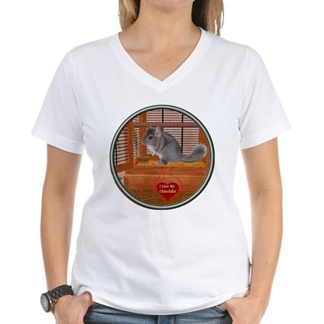 Chinchilla #1 Women's V-Neck T-Shirt