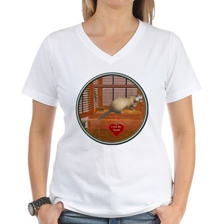 Ferret #1 Women's V-Neck T-Shirt