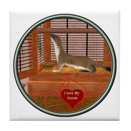 Ferret #2 Tile Coaster