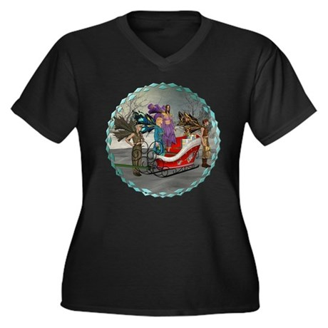 AKSC - Where's Santa? Women's Plus Size V-Neck Dar