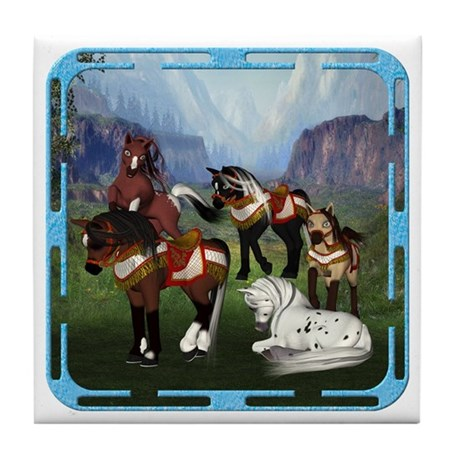 All the Pretty Little Horses Tile Coaster