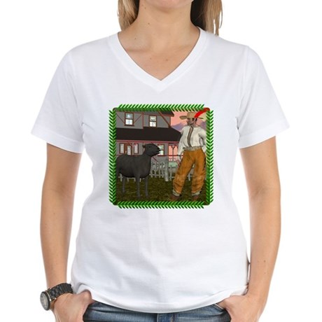 Black Sheep N Farmer Women's V-Neck T-Shirt
