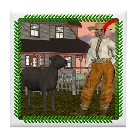 Black Sheep N Farmer Tile Coaster