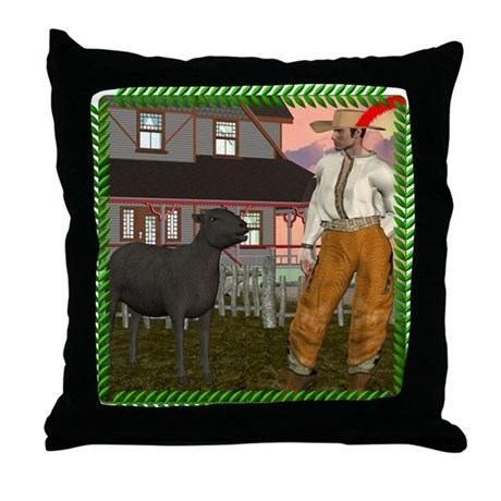 Black Sheep N Farmer Throw Pillow
