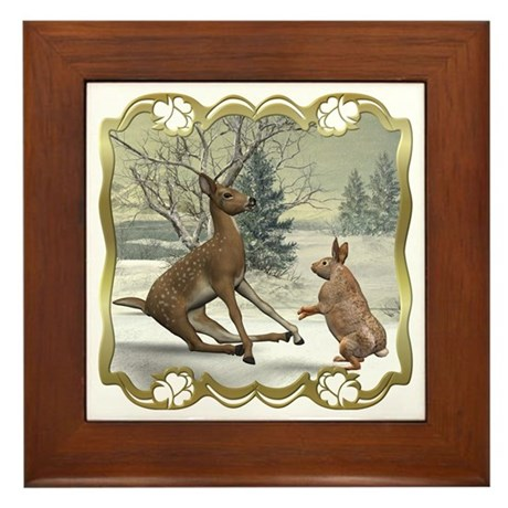 Bambi On Ice Framed Tile
