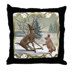 Bambi On Ice Throw Pillow