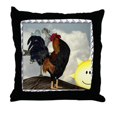 The Cock Crows Throw Pillow