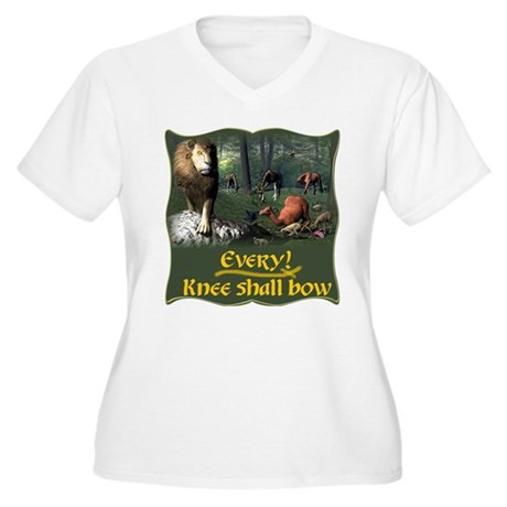 Every Knee Shall Bow Women's Plus Size V-Neck T-Sh