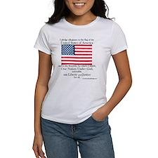 Women's Pledge of Allegiance U.S. Flag White Tee
