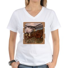 Flight of the Gyr Falcon Women's V-Neck T-Shirt
