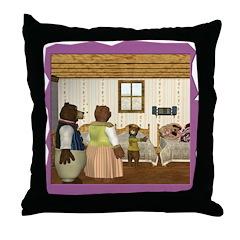 Goldilocks & The 3 Bears Throw Pillow