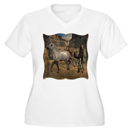 Southwest Horses Women's Plus Size V-Neck T-Shirt
