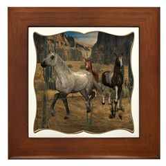 Southwest Horses Framed Tile