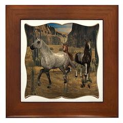 Southwest Horses Framed Tile