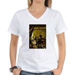 The Artist-AussieShep1 Women's V-Neck T-Shirt