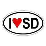 I Love San Diego Oval Decal