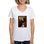Lincoln / Basset Hound Women's V-Neck T-Shirt