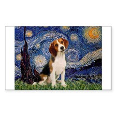 Starry Night / Beagle Sticker (Rectangle)