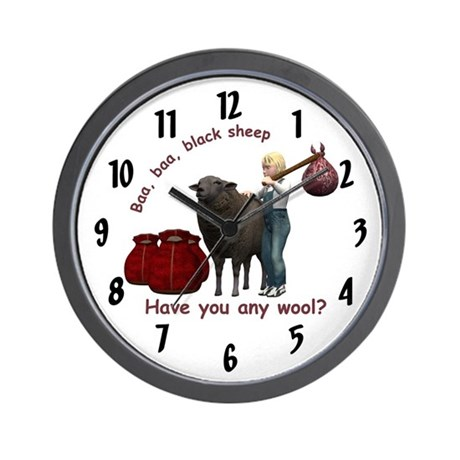 Wall Clock - Baa, Baa, Black Sheep