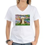 Lilies / Bearded Collie Women's V-Neck T-Shirt