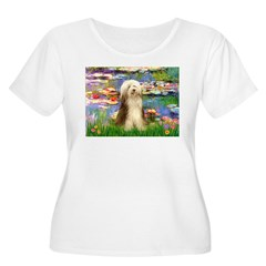Lilies / Bearded Collie Women's Plus Size Scoop Ne