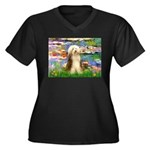 Lilies / Bearded Collie Women's Plus Size V-Neck D