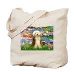 Lilies / Bearded Collie Tote Bag