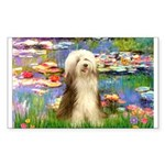 Lilies / Bearded Collie Sticker (Rectangle)