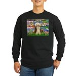 Lilies / Bearded Collie Long Sleeve Dark T-Shirt