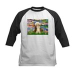 Lilies / Bearded Collie Kids Baseball Jersey