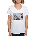 Creation / Bearded Collie Women's V-Neck T-Shirt