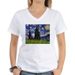 Starry Night /Belgian Sheepdog Women's V-Neck T-Sh
