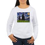 Starry Night /Belgian Sheepdog Women's Long Sleeve