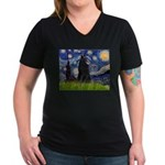 Starry Night /Belgian Sheepdog Women's V-Neck Dark