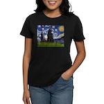 Starry Night /Belgian Sheepdog Women's Dark T-Shir