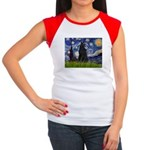 Starry Night /Belgian Sheepdog Women's Cap Sleeve