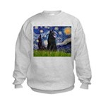 Starry Night /Belgian Sheepdog Kids Sweatshirt