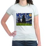Starry Night /Belgian Sheepdog Jr. Ringer T-Shirt