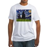 Starry Night /Belgian Sheepdog Fitted T-Shirt