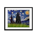 Starry Night /Belgian Sheepdog Framed Panel Print