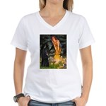 Fairies /Belgian Sheepdog Women's V-Neck T-Shirt