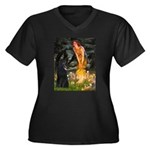 Fairies /Belgian Sheepdog Women's Plus Size V-Neck