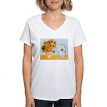 Sunflowers & Bolognese Women's V-Neck T-Shirt