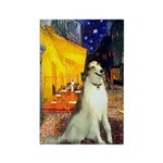 Terrace Cafe & Borzoi Rectangle Magnet