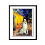 Terrace Cafe & Borzoi Framed Panel Print