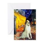 Terrace Cafe & Borzoi Greeting Cards (Pk of 20)