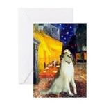 Terrace Cafe & Borzoi Greeting Card
