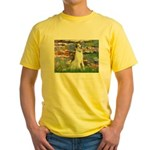 Borzoi in Monet's Lilies Yellow T-Shirt