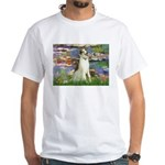 Borzoi in Monet's Lilies White T-Shirt