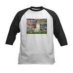 Borzoi in Monet's Lilies Kids Baseball Jersey
